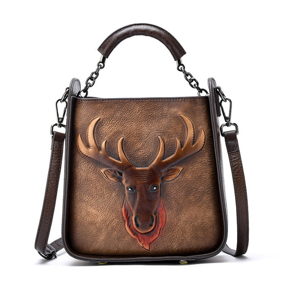 High Quality Natural Skin Top Handle Crossbody Bag Retro Deer Pattern Tote Handbag Women Genuine Leather Shoulder Messenger Bags