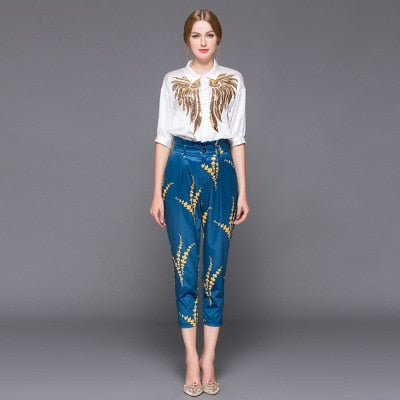 High quality 2018 autumn outfit stylist women lapel sequins embroidered shirts printed + 7 minutes of pants style 2 piece sets
