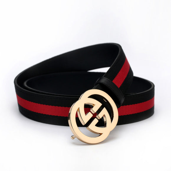 High quality Men's Casual Authentic g Belt Striped Canvas Ribbon 2018 New Listing Luxury Brand Men's Belt