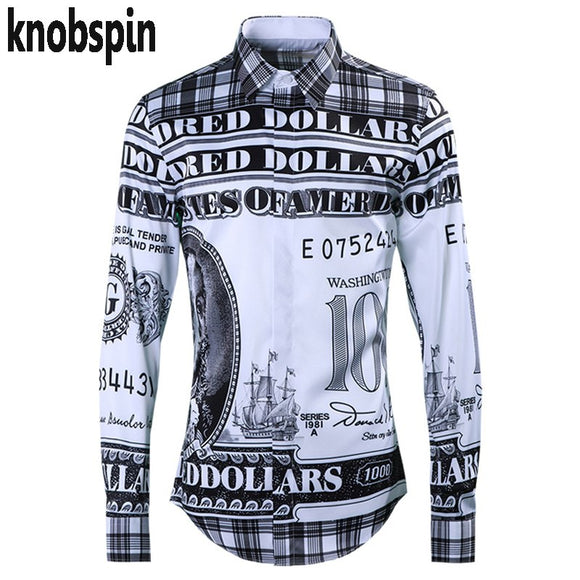 High quality Men's shirt Fashion Dollar Printed clothes for men long sleeve Slim Business male Dress shirts 2019 brand New
