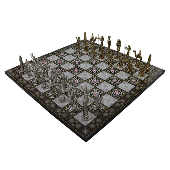 Historical Egypt Pharaoh Figures Metal Chess Set,Handmade Pieces and Mother-of-Pearl Patterned Wood Chess Board King 9 cm