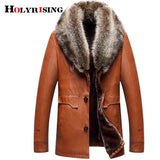 Holyrising Men Faux Leather Jackets Winter Thicken Coat jaqueta de couro chaqueta Men PU Leather Raccoon fur Colla coat 18617-5