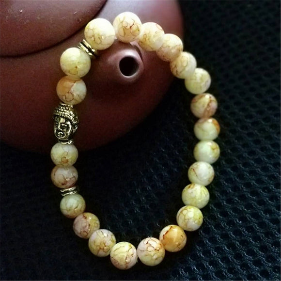 Hot Classic Gold Color Buddha Head Natural Stone Bracelets Men Multicolor Yoga Beaded Bracelet For Women Gift Jewelry Wholesale