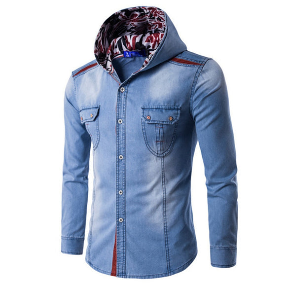 Hot Sale Male Hooded Denim Shirt Classic Blue Denim Clothing Young Man Slim Blusa Long Sleeve Fashion Floral Men Hoodie Tops New