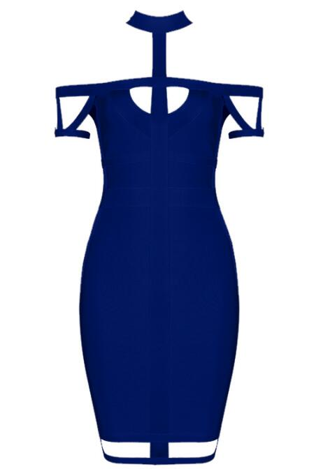 New Summer Women Bandage Dress blue Apricot Orange Hollow Out Celebrity Evening Party Bodycon Dresses Vestidos