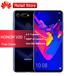 "Huawei Honor View 20 Smartphone V20 6.4"" Fullview 4000mAh SuperCharge Kirin 980 Octa Core Android 9 45MP AI Camera OTG NFC Phone"