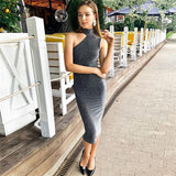 Hugcitar high neck halter reflective high waist sexy dress winter spring women fashion Christmas party club dress