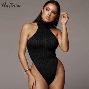 Hugcitar high neck sleeveless bodycon sexy bodysuit 2019 spring women new fashion solid slim party club  casual stretchy body