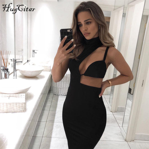 Hugcotar halter hollow out V-neck sexy dress high waist bodycon solid slim women fashion 2019 spring party dresses