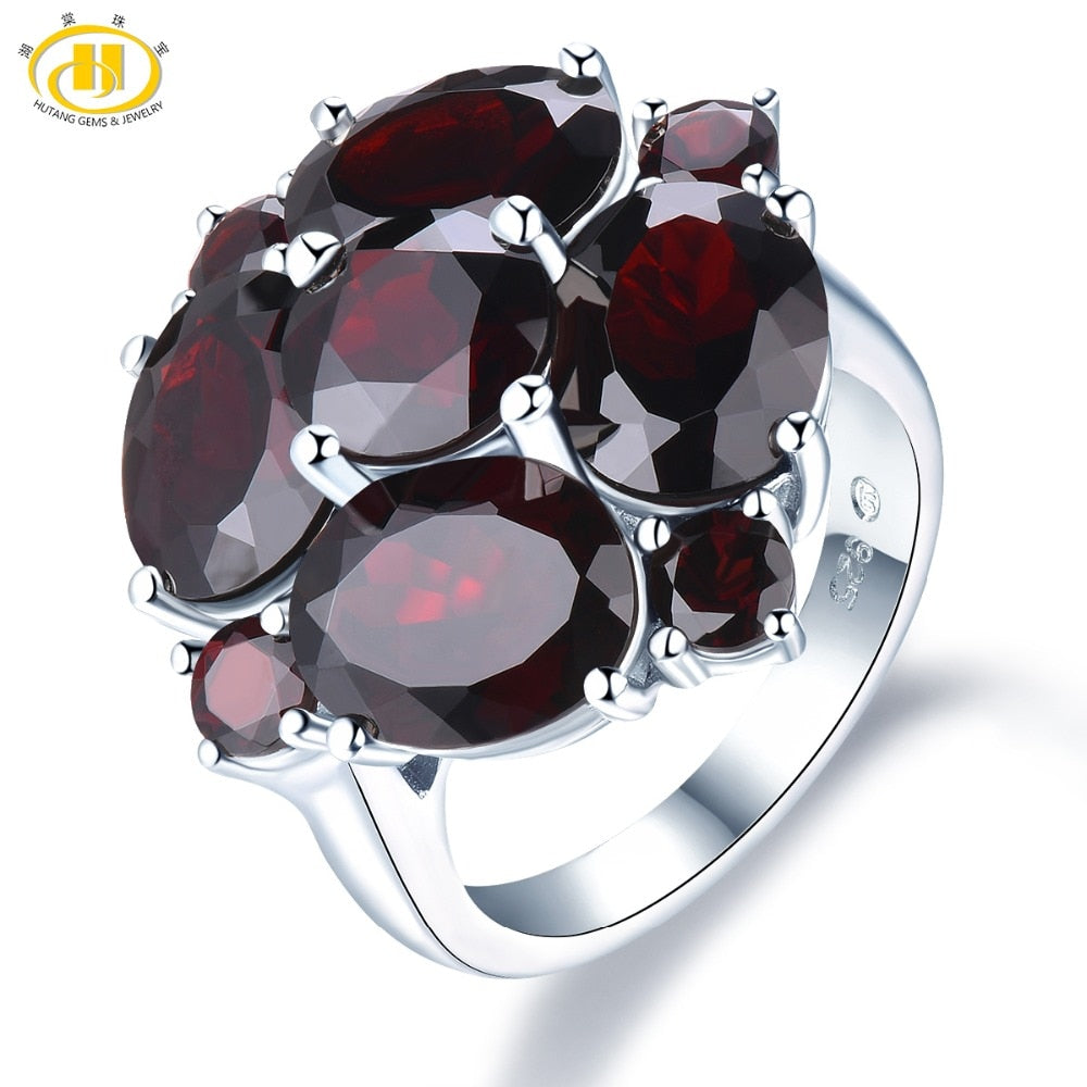4f8f92b81 Hutang Black Garnet Wedding Rings Natural Gemstone Solid 925 Sterling  Silver Ring Fine Stone Flower Jewelry ...