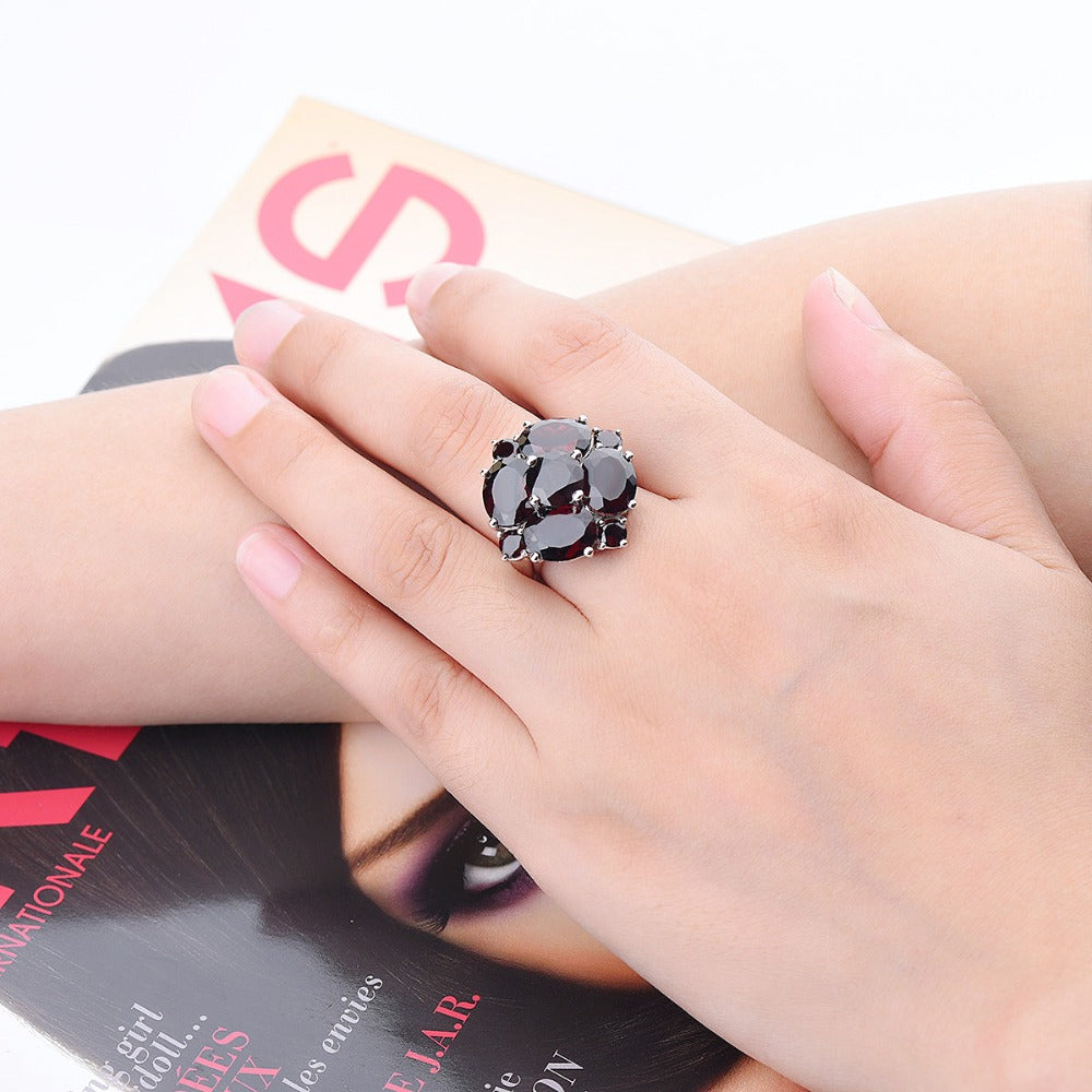 e6ab25160 ... Hutang Black Garnet Wedding Rings Natural Gemstone Solid 925 Sterling  Silver Ring Fine Stone Flower Jewelry ...