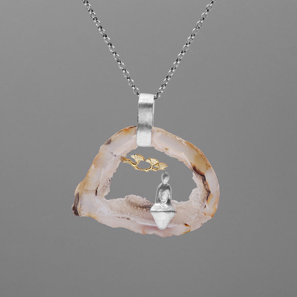 INATURE 925 Sterling Silver Natural Agate Yoga Pendant Necklace Women Jewelry