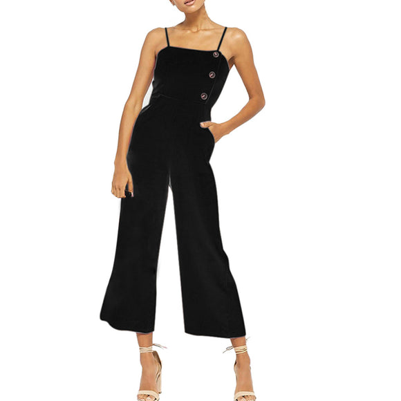 JAYCOSIN Women Sleeveless Overalls Black Bodysuit Button Bib Pants Dungaree Trousers Bodysuit Velvet Sexy Costume Rompers z02114