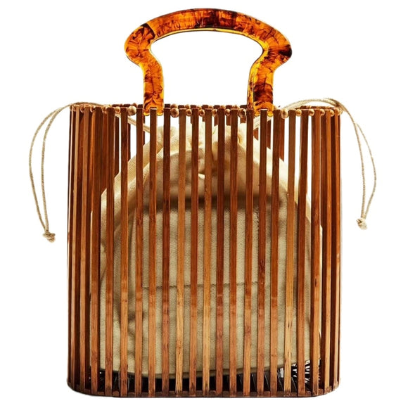 JHD-Fashion Women Bags Designer Acrylic Handle Woven Bag Bamboo Bag Stitching Hollow Bag Clutch Bali Beach Holiday Handbag