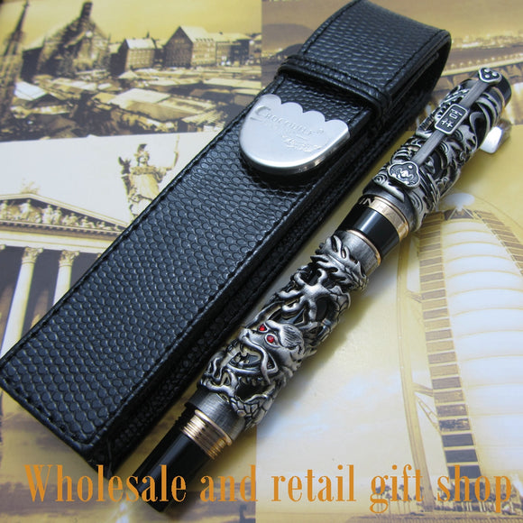 Jinhao Dragon Phoenix Heavy gray Chinese Classical Luck Clip roller Pen and pen bag