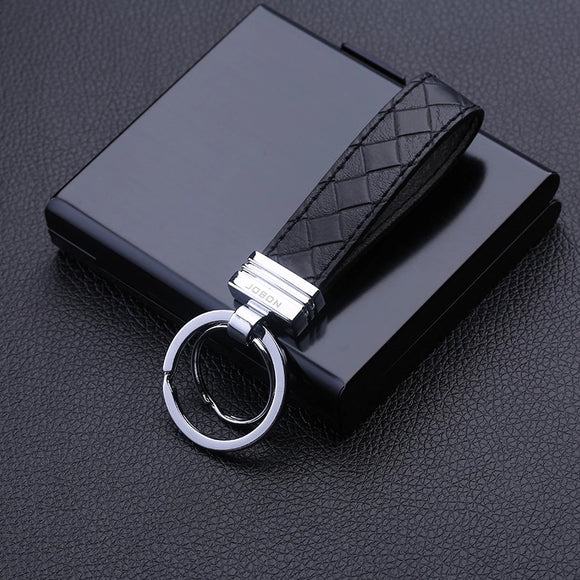 Jobon High-Grade Car Key Chain Women Men Keychains Cow Leather Key Ring Holder Jewelry Bag Pendant Classic Best Gift for Men