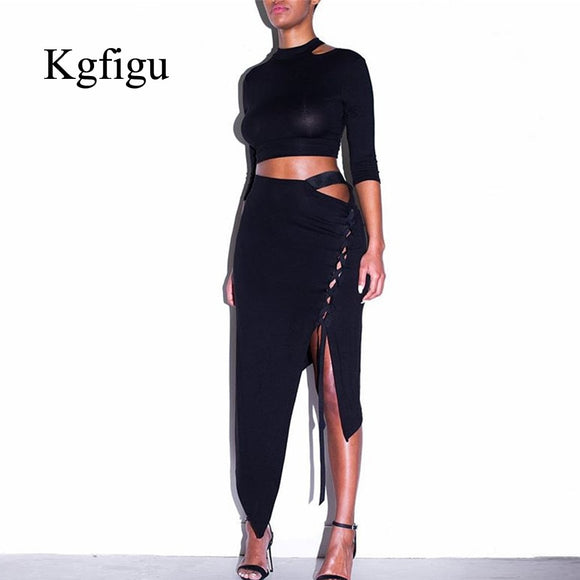 KGFIGU Women's Sets Fashion Long Sleeve Crop Top Mini Skirt Sexy Club Neon Balck Overalls Two Pieces Sets Outfits Party