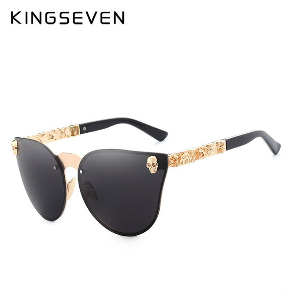 KINGSEVEN Luxury Brand Fashion Women Gothic Mirror Eyewear Skull Frame Metal Temple Oculos de sol UV400 With Accessories
