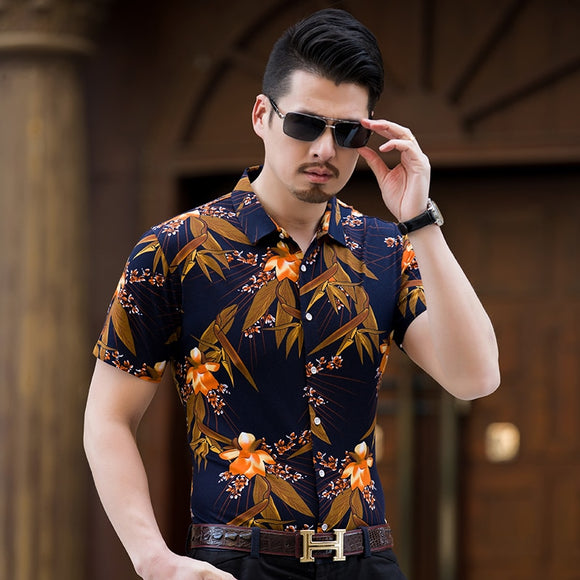 KUYOMENS hot Floral Shirts For Men Dress Shirt Casual Male Turndown Collar Brand Summer Camisa Slim Fit Masculina Chemise Homme