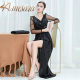 LA MESARA Long Sleeve V Neck Button Ruches Maxi Dresses Irregular Split Evening Celebrity Formal dress Women Elegant 319046
