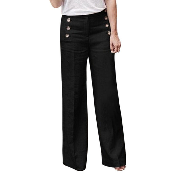 LAAMEI 2018 Women Fashion Linen Cotton Wide Leg Pants Pure Color Casual High Waist Full-length Pants Buttons Breathable Trousers