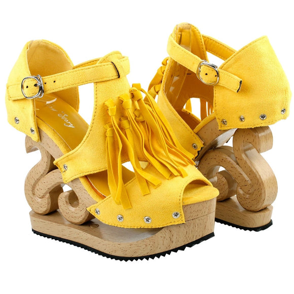 LF30837 Yellow Gladiator Western Fringe Tassel Cut Out Stud Wooden Wedge Clogs Sandals