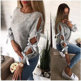 LITTHING Women Bow Hollow Out Long Sleeve Warm Sweater 2019 Spring Pullovers Knitting Loose O-Neck Female Tops Blouse Knitwear