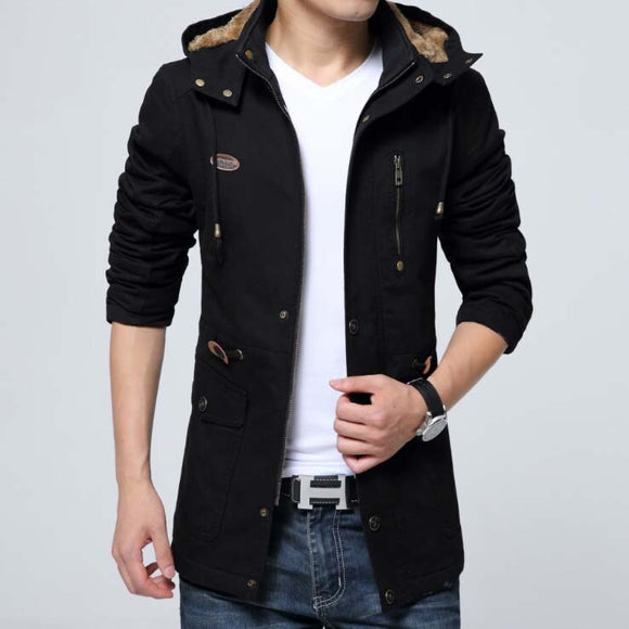 LONMMY Windbreaker Cotton Thick Velvet Hooded Brand-clothing Military men jacket coat Hoodies Army mens jackets and coats 2018