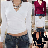 Ladies Sexy Low-cut V-Neck Knitted Elastic Sweater 2019 Women Winter Slim Long Sleeve Fashion Pullovers