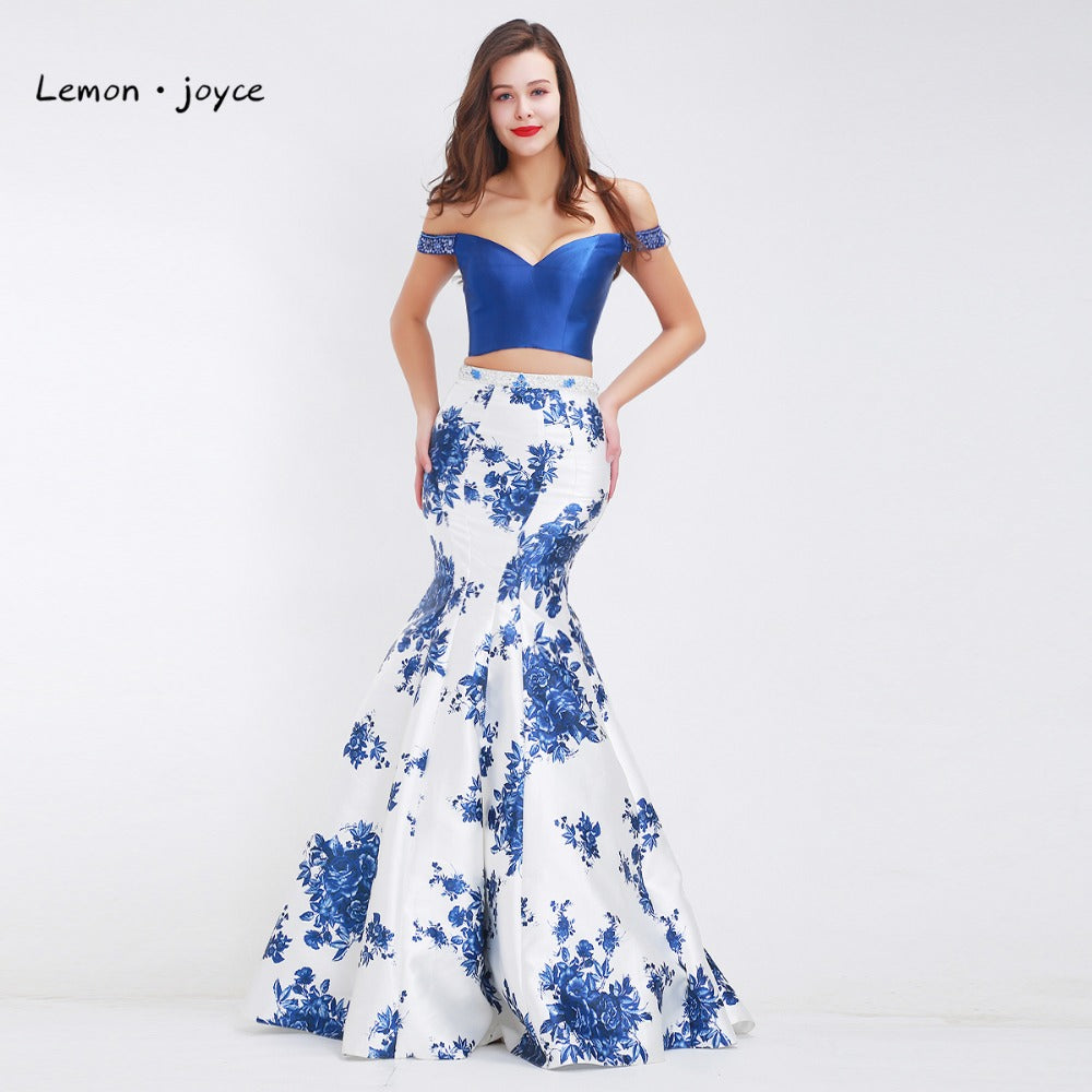 c02a526d18 Lemon joyce Formal Evening Dresses Long 2019 Boat Neck Sexy Mermaid  Floor-Length Prom Party Gowns Plus Size robe de soiree
