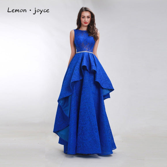 Lemon joyce Royal Blue Prom Dresses 2019 for Women Sleeveless Simple See-through Floor Length Formal Evening Dress Party Gown