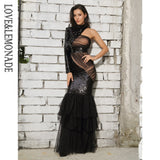 Love&Lemonade  Black Cut Out Mesh Stitching Fishtail Shape Sequins Long Dress  LM81485