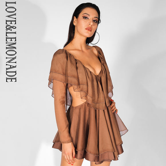 Love&Lemonade Sexy Deep V Neck Cut Out Double Ruffled Chiffon Open Back Long Sleeve Dress LM81590