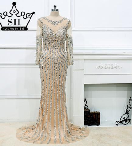 Luxury  Long sleeves  Sexy Diamond Sequined Mermaid Evening Dresses Sparkly Evening Gown  2019  Real Photo  LA6078 Plus Size