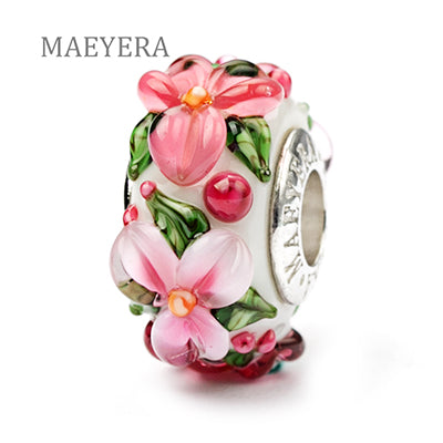 MAEYERA 925 Sterling Silver Lampwork Beads Bohemian Stereo Petals Murano Glass Beads For European Charm Bracelet Jewelry
