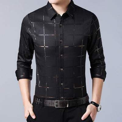 MIACAWOR New Men's Shirts Plaid Casual Shirt Long Sleeve Dress Shirts Slim Fit Camisa Masculina Men Clothing C493