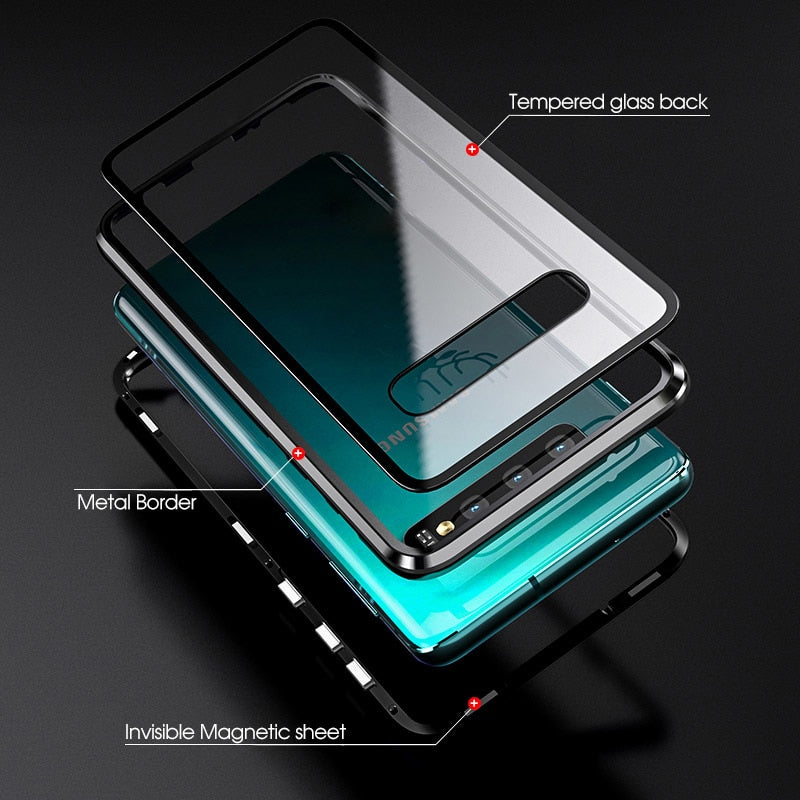 newest 72992 eb5fa Magnetic Adsorption Metal Phone Case For Samsung Galaxy S10 Plus S8 S9