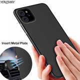 Magnetic Case for iPhone 11 Cover Soft TPU Matte Case Insert Metal Sheet Fit Magnet Car Phone Holder for iPhone 11 Pro Max Shell