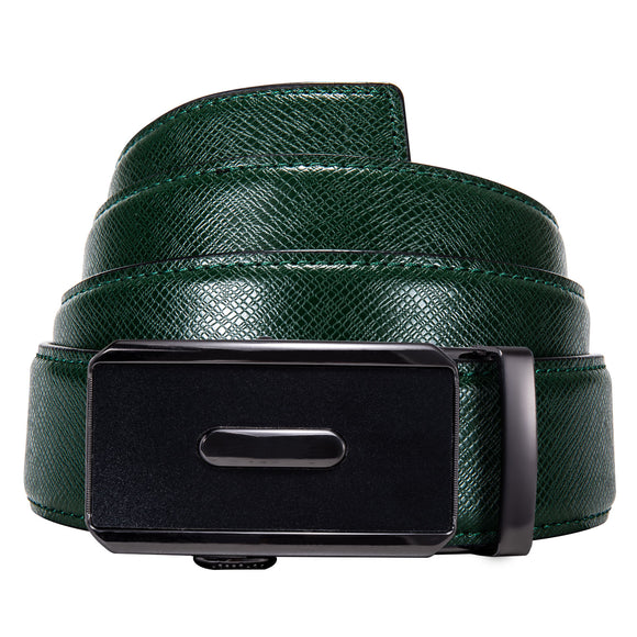 Men Belt Green Leather Belt Blue Alloy Automatic Slide Buckle Designer Square Buckle Waist Strap for Suit Pants Jeans Barry.Wang