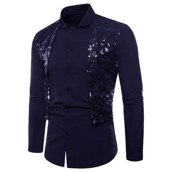 Men Social Shirt Long Sleeve Lace Formal Casual Suits Slim Fit Tee Casual Hit Color Slim Fit Black Man Dress Shirts Camisas