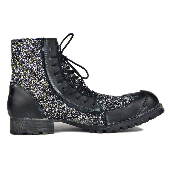 Men deep retro motorcycles Punk style Cowboy genuine Leather with Sequins Rock Boots wild man Fashion handmade shoes