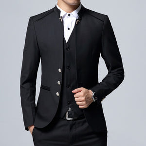 Men's Suit 3 Piece Set, Slim fit Men Suit Jackets + Pants + Vests, Wedding Banquet Male Blazer Coats Szie M-4XL