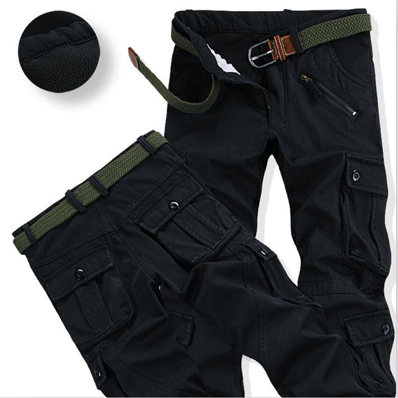 Men's Winter Fleece Pants Thick Warm Cargo Pants Casual Pockets Fur Long Trousers Fashion Loose Baggy Jogger Worker Male Pants