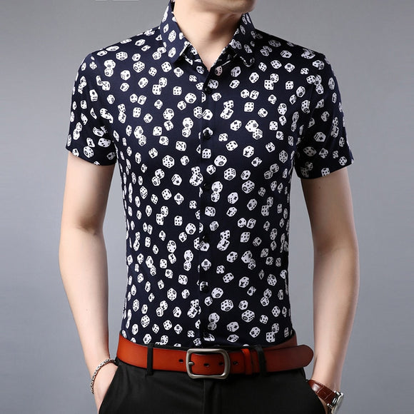 Mens Summer Plus Size Short Sleeve Shirts 2019 Fashion Print Casual Dress Shirts Cotton Harajuku Shirt camisa social masculina