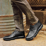 Merkmak Genuine Leather Men Ankle Boots Fashion Waterproof Autumn Winter Outdoor Mens Casual Shoes High Top Footwear