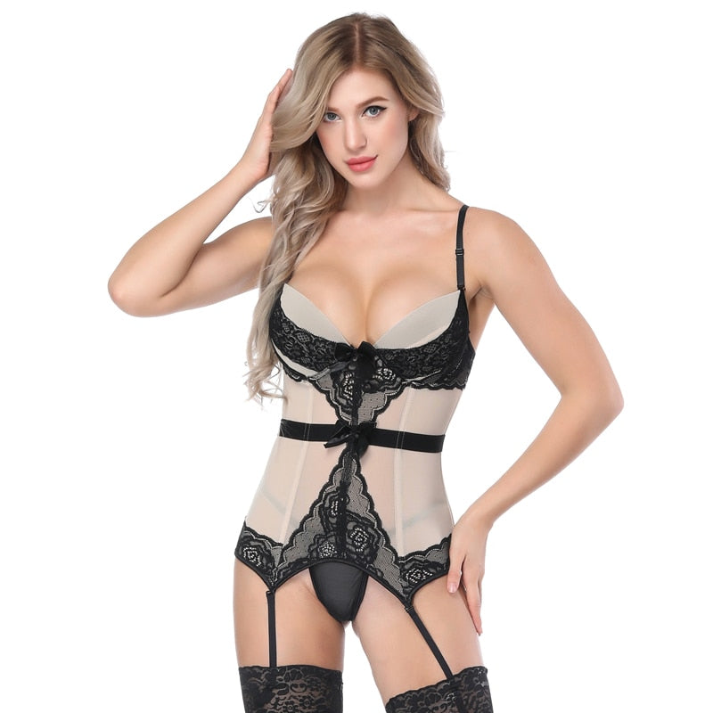 aeb828462 Minifaceminigirl Sexy Corsets And Bustiers Women High Quality Apricot Push  Up Lingerie Firm Lace Up Female ...