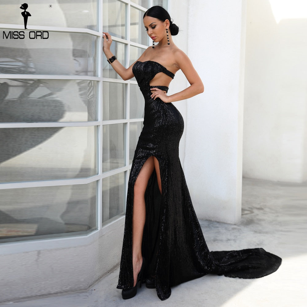 96285ea2796a1 ... Missord 2018 Sexy Bra Off Shoulder Sequin Dresses Female Backless High  Split Maxi Elegant Party Dress ...