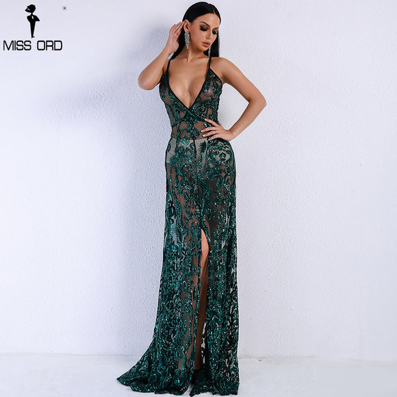 Missord 2018 Women Summer  Sexy V-neck Off Shoulder Middle Split Women Dress Sequin See Through Maxi Party Dress    FT5139-4