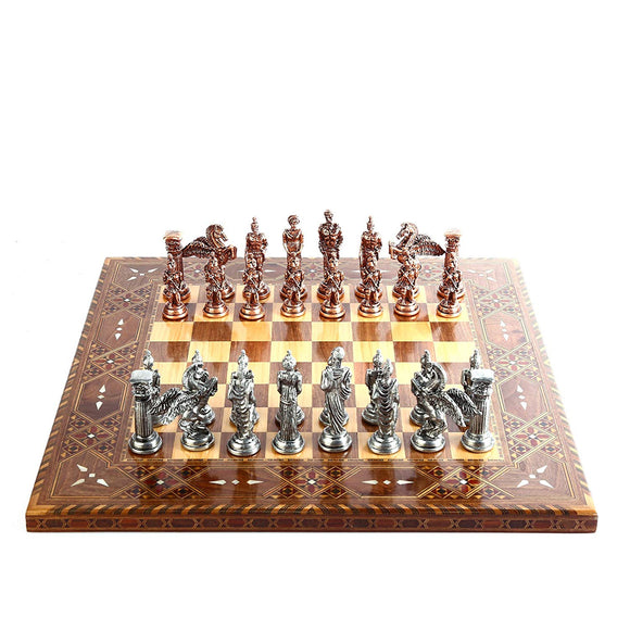 Mythologic Pegasus Antique Copper Metal Chess Set,Handmade Pieces,Natural Solid Wooden Chess Board,Original Pearl, King 9.5cm