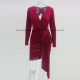 NATTEMAID Autumn Winter Wrap Bandage Bodycon Dresses Women Deep V Neck Mini Sexy Dress Elegant Red Velvet Party Dress Vestidos